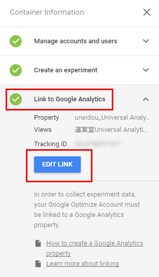 Link to Google Analytics