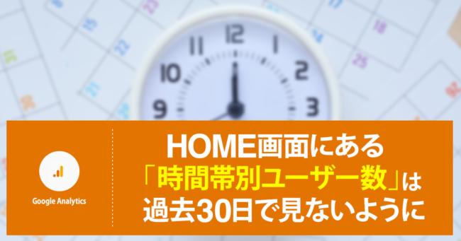 Google アナリティクスのHOME画面にある「時間帯別ユーザー数」は過去30日で見ないように